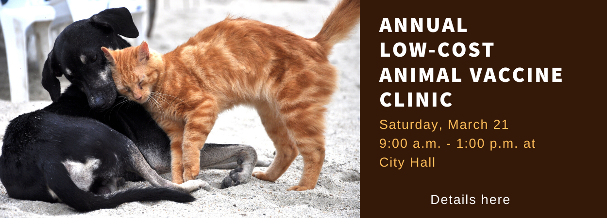A dog and cat snuggle next to the words: Annual Low-Cost Animal Vaccine Clinic, Saturday, March 21 9:00 a.m. - 1:00 p.m. at City Hall