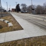 New sidewalks installed along Nelson Street between 5th and 6th Street, proving an essential connection between downtown and Edgerton Lake Park